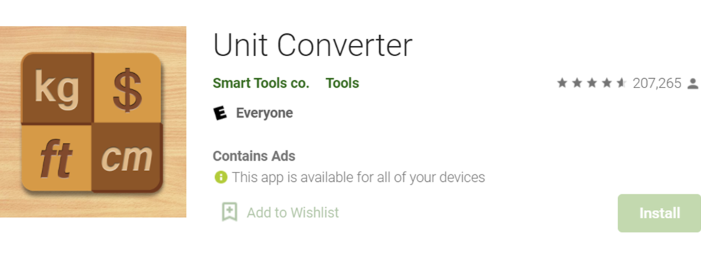 Unit Converter Smart Tools icon and name