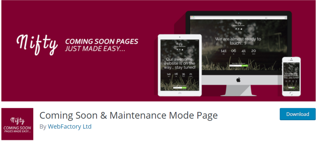 Coming Soon and Maintenance Mode page