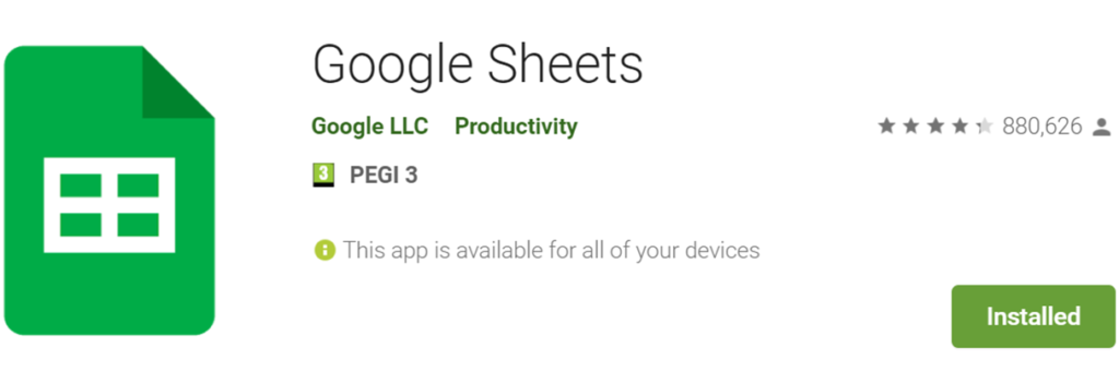 Google Sheets icon and name