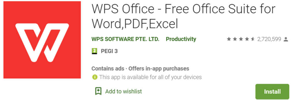 WPS Office icon and name