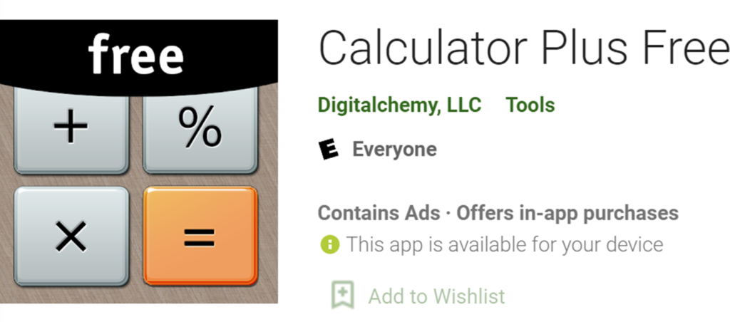 Calculator Plus Free name and icon
