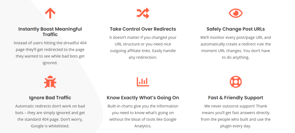 WP Redirects features