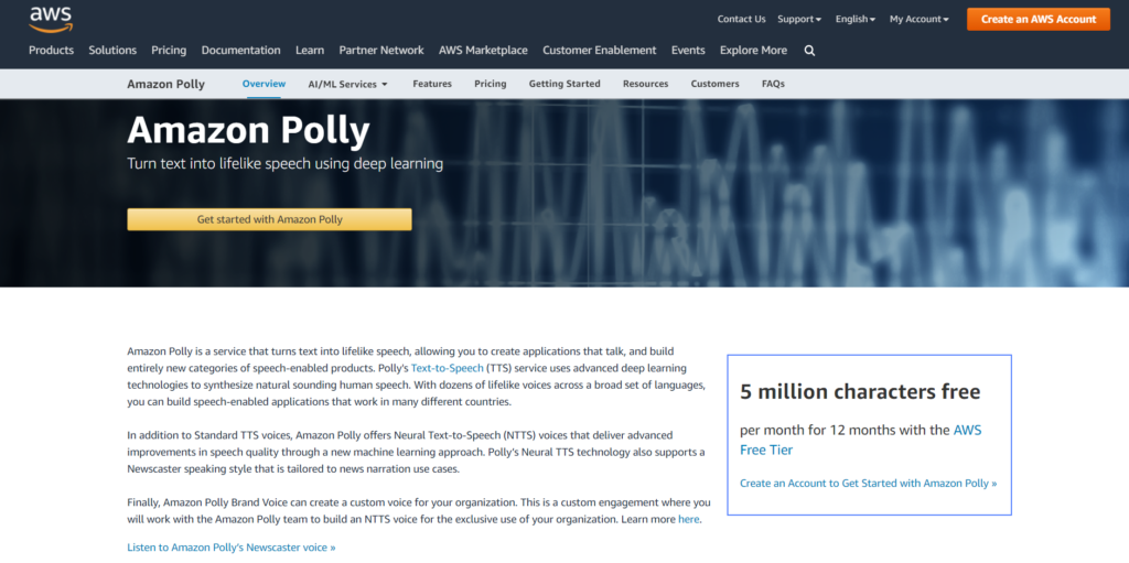 Amazon Polly homepage